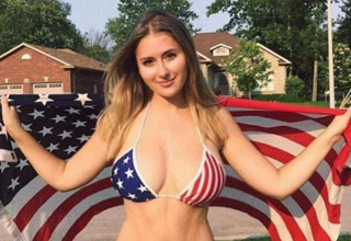 Nothing says America like an American flag bikini that's struggling to do it's job?