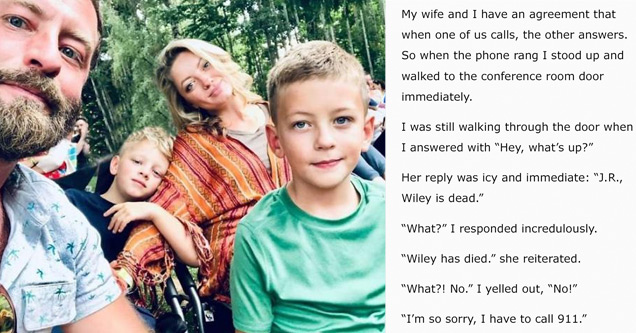 a father and his two boys and wife and text from a letter he wrote