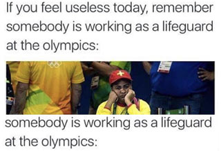 Olympic lifeguard bored and useless