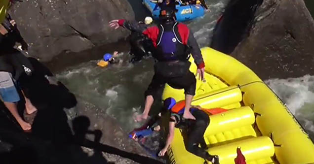 a raft wedged in the box in west virginia