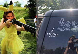 a woman wearing a pikachu outfit and holding a gun, a family sticker with the dad missing