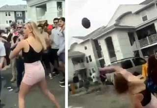 Hot girl with a cannon for an arm throws football into oblivion