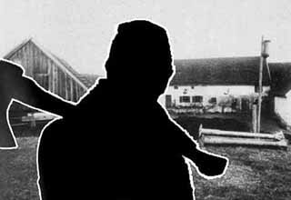 Photo of Hinterkaifeck farm a few days after the murders, juztaposed with silhouette of a menacing, axe-wielding man