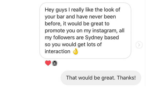a fb message from an influencer who wants to give a bar press
