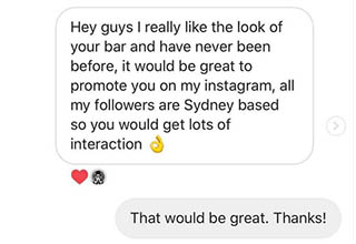 "Have fun at your ""relevant bars,"" dingus. An Australian ""influencer"" offered free press with a catch: free drinks would be required. This bar owner didn't give a flying frick about his following."
