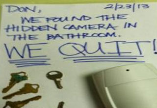 a note to a boss that all employees are quitting after finding camera in bathroom