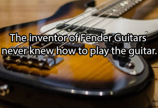 an electric guitar with text about the creator of fender never knew how to play