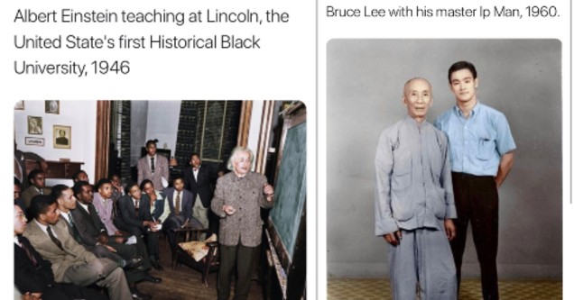 History Snaps - Albert Einstein  teaching at the U.S. first historical black university in 1946 and Bruce Lee with his master IP man in 1960.