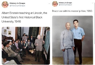 Albert Einstein  teaching at the U.S. first historical black university in 1946 and Bruce Lee with his master IP man in 1960.