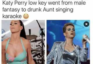 katy perry drunk aunt meme - Katy Perry low key went from male fantasy to drunk Aunt singing karaoke