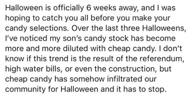 a facebook post about cheap halloween candy