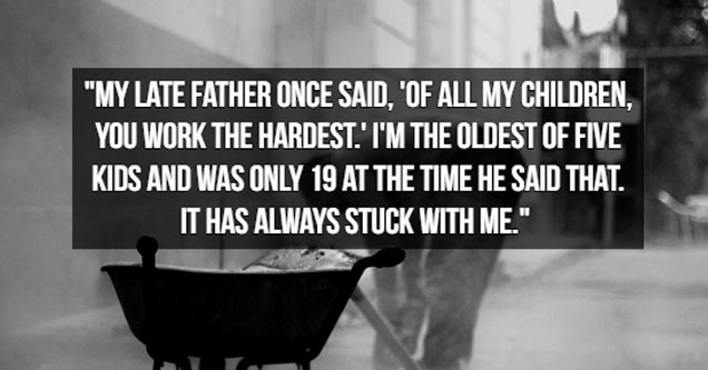 a black and white image with text about his dad complimenting him