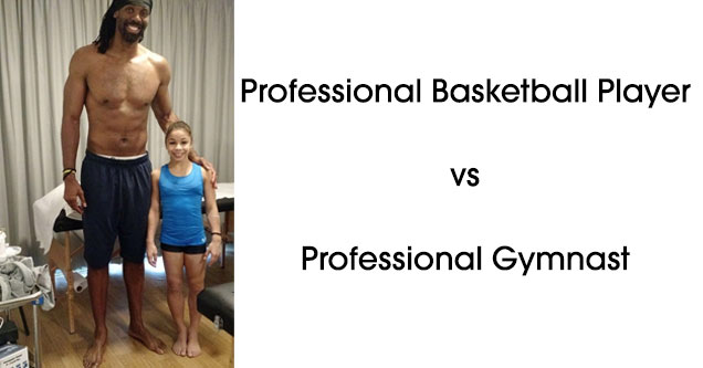 Comparison of a basketball player standing next to a gymnast