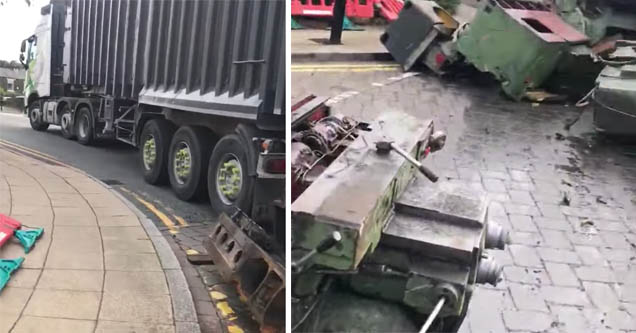 a truck that spilled gear on the road