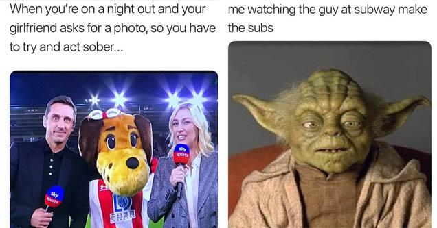 a meme about yoda and a subway sandwich artist