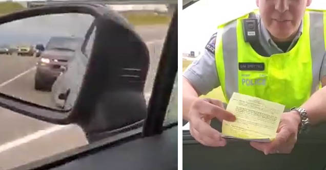 a canadian police officer talking to lacey evans after pulling her over on the highway