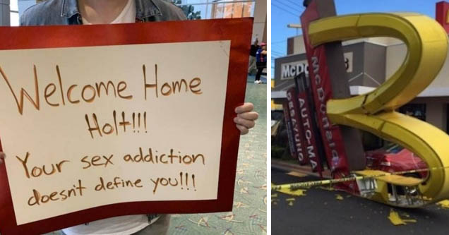 a sign welcoming someone home who has a sex addiction