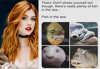 a woman with red hair and a meme about fish in the sea