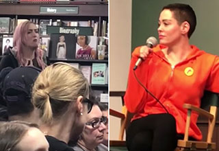 Rose McGowan gets into a heated exchange with a fan in NYC