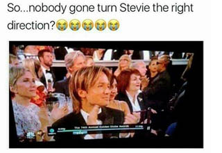 a meme with stevie facing the wrong direction