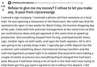 This story from Reddit tells a delicious tale of revenge after a restaurant owner refuses to pay for signs that he ordered.