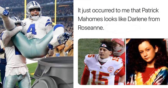 a picture of patrick mahomes and darlene from roseanne and they look kinda alike