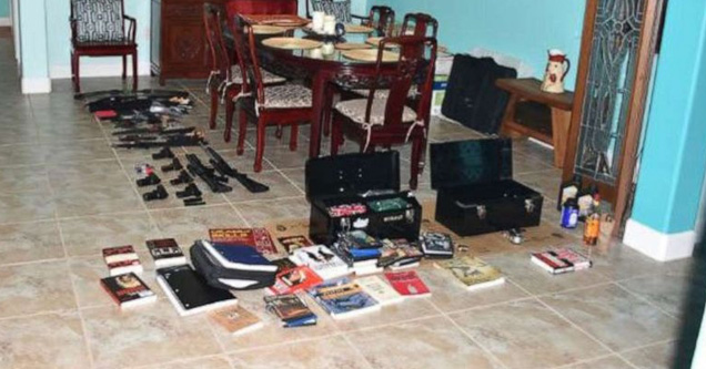 a photo of guns bombs and books found in a florida womans home