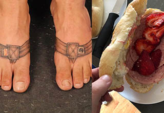 two feet with sandle tattoos on them and a sandwich with strawberries and meat