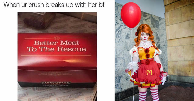 a woman dressed as ronald mcdonald and a box from firehouse subs