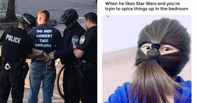 a man getting arrested and a woman who is dressed up like chewbacca