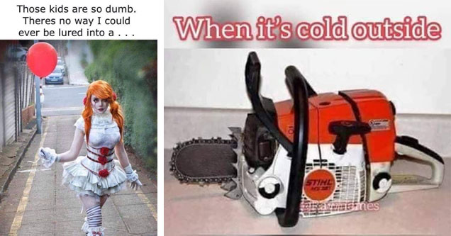 a female in sexy it cosplay and funny meme with a chainsaw and a joke about shrinkage