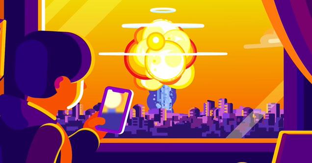 a cartoon image of a nuclear blast