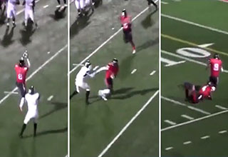 Football player gets tackled by teammate after interception