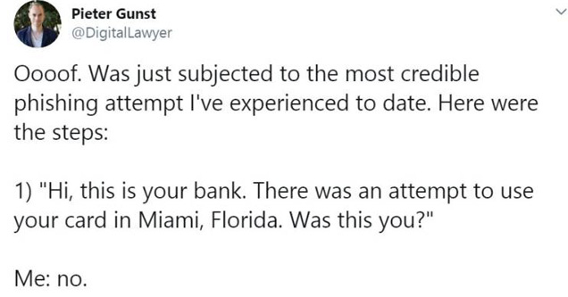 a tweet from a man talking about almost getting scammed