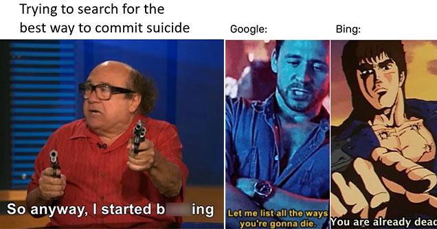 google vs bing memes that show ruthless bing is