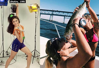 shakira in 1991 and a lady drinking beer out of a fish