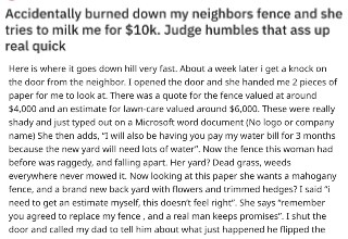 "This juicy tale of revenge comes from the wonderful <a href=""https://www.reddit.com/r/prorevenge"" target=""_blank"">r/prorevenge</a> subreddit. Two kids accidentally burn down their neighbor's fence with fireworks and she tries to take advantage of the situation by trying to get them to pay for a huge remodel of her backyard. When it goes before a judge in court, the horrible lady gets taken down hard."