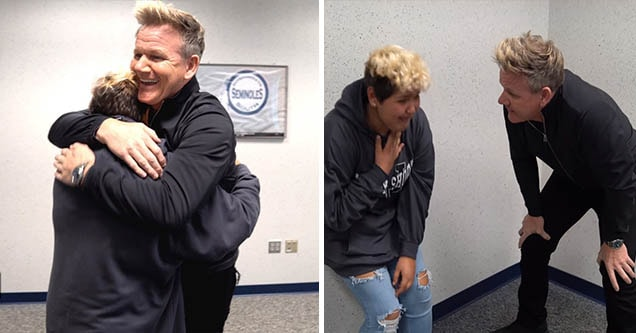 Gordon Ramsay surprises a young fan battling cancer