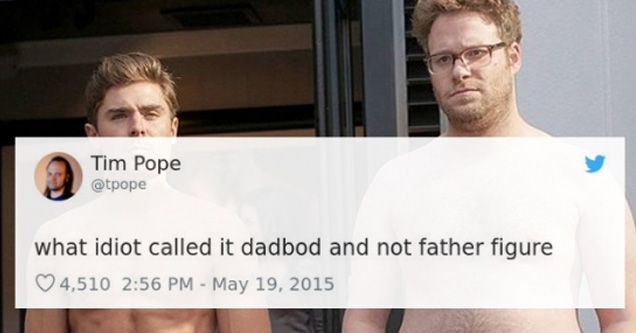 seth rogan and james franco without shirts on and a tweet about dad bods