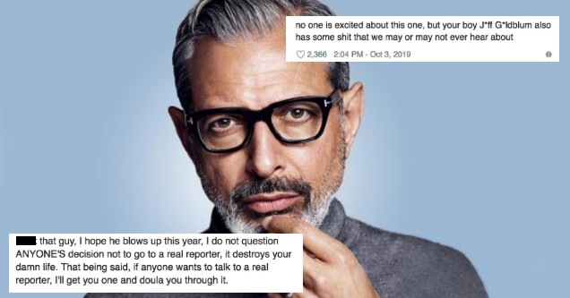 Write Nicole Cliffe is trying to cancel Jeff Goldblum by asking for creepy stories.