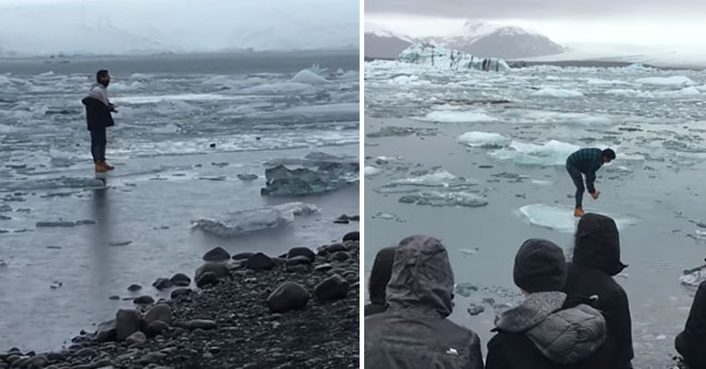 dumb tourist gets caught on an ice berg floating out to sea | video of a silly tourist getting stuck on ice