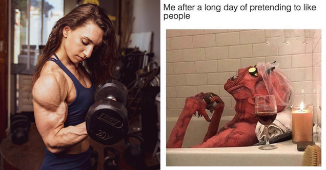 a female weightlifter a meme with a demon in a bathtub