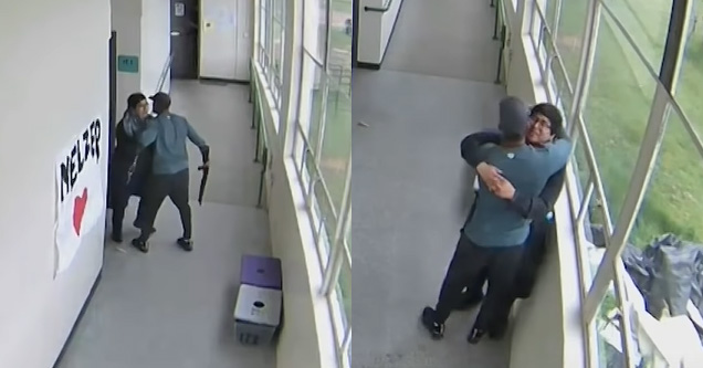 a high school coach hugging a student with a gun