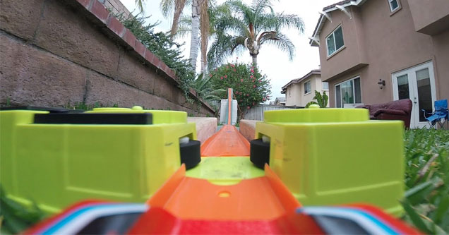a hot wheels track from the perspective of the car