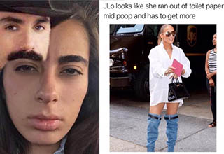 a woman who's eyebrow looks like a cowboy mustache and a jlo wearing low jeans in a meme