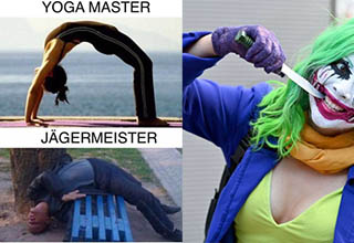 a woman dressed as the joker and a woman doing yoga in a meme