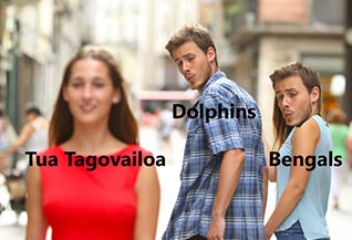 The Dolphins and Bengals staring down Tua Tagolvailoa as they fight for last place in the NFL.