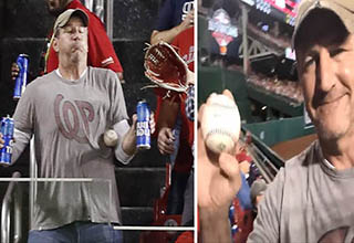 Baseball fan Jeff Adams takes home run ball to the gut just to save his beers