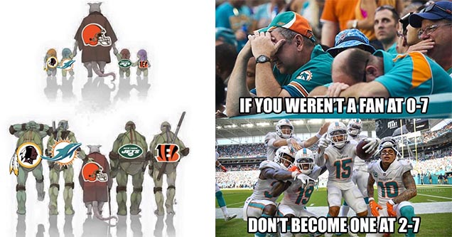 Teenage Mutant Ninja Turtles representing bad NFL teams that have grown up to become the new Cleveland Browns NFL meme and the Miami Dolphins 2 game winning streak meme.