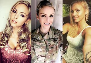 These military babes aren't just hot out of uniform, they're just as sexy when they're fully suited up.